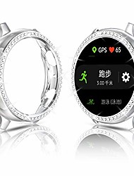 cheap -compatible with samsung galaxy watch active 2 bling case, bling shiny crystal diamond rhinestone active 2 40mm bumper hard pc frame women girl (silver, active 40mm)