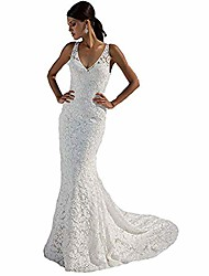 cheap -women's mermaid lace wedding dresses white bridal gowns