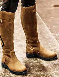cheap -Women's Boots Riding Boots Flat Heel Round Toe Knee High Boots Vintage Daily PU Buckle Solid Colored Black Yellow Blue