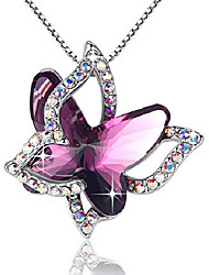 "cheap -butterfly crystal necklace with amethyst pink birthstone for february, silver-tone, 18""+2""chain"