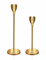 cheap -set of 2, wedding & dinning table centerpieces decorative brass candlestick holder metal candelabra,fits 3/4 inch thick candle & led candles, 6&8'',