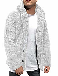 cheap -mens hooded jacket 2021 fuzzy sherpa fleece warm casual solid fashion simple open front cardigan winter coat plus size winter loose big and tall outwear