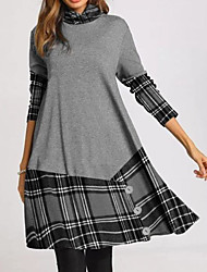 cheap -Women's A-Line Dress Knee Length Dress - Long Sleeve Plaid Color Block Patchwork Print Fall Winter Casual 2021 Gray S M L XL XXL 3XL 4XL