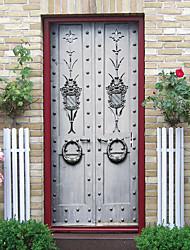 cheap -Imitation Iron Door Self-adhesive Creative Door Stickers Living Room DIY Decorative Home Waterproof Wall Stickers