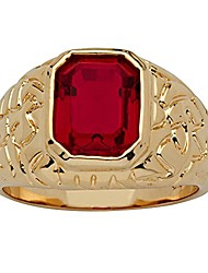 cheap -men's 14k yellow gold plated emerald cut simulated red ruby nugget style ring size 9