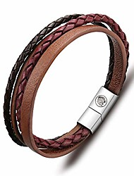 cheap -leather bracelet for men magnetic steel clasp cowhide braided mens bracelet 7.5-8.7 inches, with premium gift box (brown, 8.7)