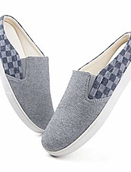 cheap -men's canvas slippers cozy memory foam, checker cloth slip-on house shoes with anti skip rubber sole,gray,11-12