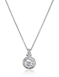 cheap -platinum plated sterling silver antique pendant necklace set with round cut swarovski zirconia (2.8 cttw)