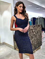 cheap -Women's Sheath Dress Knee Length Dress Black Blue Purple Sleeveless Solid Color Backless Summer V Neck Sexy 2021 S M L XL XXL