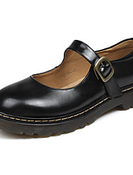 cheap -Women's Lolita Shoes Chunky Heel Round Toe Casual Daily Walking Shoes Leather Black Brown