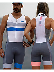 cheap -Women's Men's Sleeveless Cycling Jersey with Shorts Triathlon Tri Suit Summer Polyester Pink+White Blue+White Bike Clothing Suit Quick Dry Back Pocket Sweat wicking Sports Patterned Mountain Bike MTB