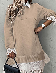 cheap -Women's Sweater Jumper Dress Knee Length Dress - Long Sleeve Solid Color Patchwork Spring Fall Casual 2020 Beige M L XL XXL 3XL