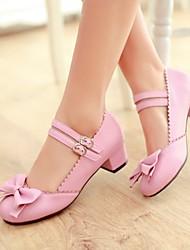 cheap -Women's Heels Chunky Heel Round Toe Daily PU Synthetics Black Pink Ivory