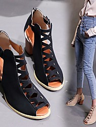 cheap -Women's Heels Pumps Peep Toe British Daily Walking Shoes PU Lace-up Solid Colored Almond Black