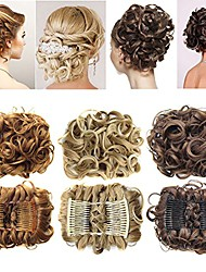 cheap -short messy curly dish hair bun extension easy stretch hair combs clip in ponytail extension scrunchie chignon tray ponytail hairpieces - dark brown to light auburn