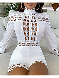 cheap -Women's Sweater Jumper Dress Short Mini Dress - Long Sleeve Solid Color Lace Patchwork Hollow To Waist Fall Hot Party Holiday Slim 2020 White Black S M L XL