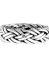 cheap -hand crafted woven braid 7 mm band .925 sterling silver ring