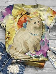 cheap -Women's Plus Size Tops T shirt Print Animal Large Size Round Neck Short Sleeve Big Size