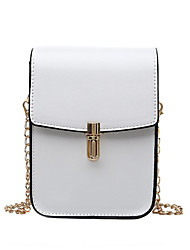 cheap -Women's Bags PU Leather Leather Mobile Phone Bag Buttons Chain Chain Bag Daily Outdoor White Black Green