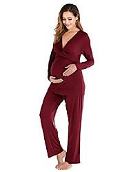 cheap -evelife nursing pajamas women nursing function maternity pajama set maternity pajamas comfortable home suit nightwear (wine red, large)