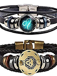 cheap -bracelet for men,retro 12 constellation beaded handwoven braided rope punk alloy leather bracelets cuff