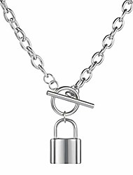 cheap -lock necklace lock key pendant necklace long chain punk multilayer statement choker necklace for women men boy girls (a-steel color, simple type)