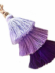 cheap -colorful tassels and pom pom boho purse charms and keychain clips for girls and women. (purple boho three tier tassel purse charm)