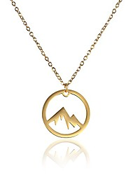 cheap -vinjewelry mountain necklace 14k gold palted stainless steel for women girls outdoor lovers, skiers & hikers