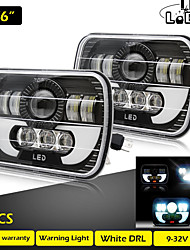 cheap -2 Pcs Running Lights 7X6 Inch 55W Daytime Running Light Led 40W 15W Angel Eyes Leds for Auto Truck