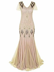 cheap -women 1920s vintage dress bead sequin flapper gatsby party gown mermaid cocktail evening dress sleeveless v neck wedding formal lang prom gown apricot m