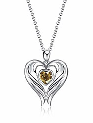 cheap -angel wings necklace for women 925 sterling silver heart birthstone birthday pendant jewelry gift for girls teens (november-light topaz)