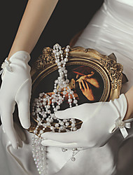 cheap -Satin Suit Length Glove Sweet Style / Elegant With Faux Pearl