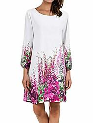 cheap -women chiffon long sleeve mini dress,ladies girls floral printing summer beach dress white