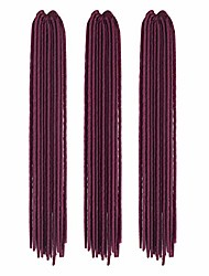 cheap -wholesale 3 pcs 20 inch/50cm women afro long twist braiding crochet braids synthetic hair extensions faux locs crochet reggae wig (maroon red)