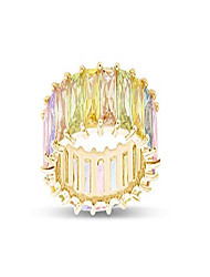 cheap -18k yellow gold plated emerald-cut multi color aaa created-gemstone eternity ring rainbow ring size-7