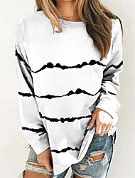 cheap -Women's Plus Size Tops T shirt Print Striped Large Size Round Neck Long Sleeve Big Size