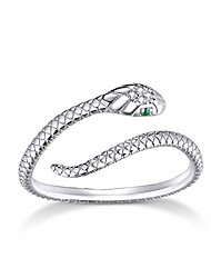 cheap -925 sterling silver round dainty spirit snake adjustable statement ring for women girls men birthday christmas size 5-8