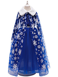 cheap -Princess Flapper Dress Dress Party Costume Girls' Movie Cosplay Cosplay Costume Party Blue Dress Shawl Christmas Children's Day New Year Polyester Organza