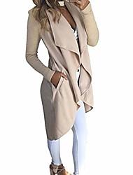 cheap -women wool blend waterfall cardigan coat outwear jacket beige