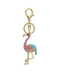 cheap -cute animal keychain cartoon flamingo pet key ring crystal handbag decoration charm purse bag pendent car holder clothing accessories for women girl gift (silver-pink)