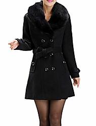 cheap -women fashion casual winter lapel wool coat trench jacket long sleeve ladies new top overcoat outwear (uk:22/cn:l5, black)
