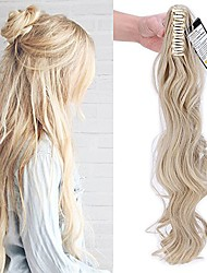 "cheap -claw on ponytail extensions 24""/60cm curly wavy hair extension natural effect synthetic hairpiece - ash blonde mix bleach blonde"