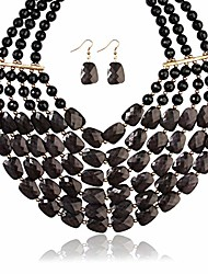 cheap -popular faceted acrylic jewel bead statement necklace set - bold multi-layered beaded bib collar for women (black)
