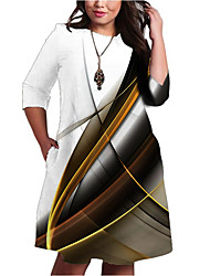 cheap -Women's A-Line Dress Knee Length Dress - Half Sleeve Striped Print Pocket Patchwork Print Spring Fall Plus Size Casual 2021 White XXL 3XL 4XL 5XL 6XL