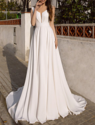 cheap -A-Line Wedding Dresses V Neck Sweep / Brush Train Chiffon Satin Sleeveless Simple Beach with 2021