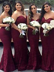 cheap -Mermaid / Trumpet Sweetheart Neckline Court Train Lace Bridesmaid Dress with Sash / Ribbon