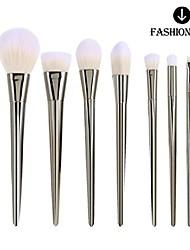 cheap -® 7pcs professional real metal face powder foundation blusher eyeshadow contour eyeliner brush (silver)
