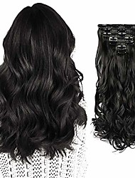 """cheap -7 pcs full head clip in hair extensions 20"""" long curly synthetic thick hair extension wavy hairpiece for women"""