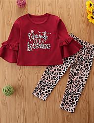 cheap -Kids Toddler Girls' Clothing Set Leopard Long Sleeve Cotton Casual Wine Basic Regular Regular