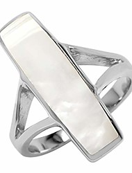 cheap -long mother of pearl inlay white gold plated 925 sterling silver ring size 8